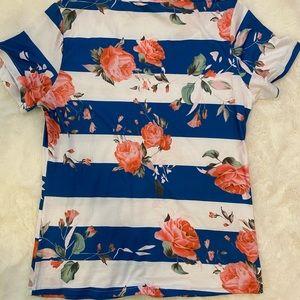 amazon Tops - NWOT Amazon Basic Floral Striped Tee Top sz M
